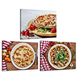 iKNOW FOTO Kitchen Pictures Canvas Wall Art Fresh Pizza with Vegetables on Wooden Background Pictures Giclee Print Food Posters with Frame Gallery Wrap Modern Home Decor Ready to Hang 12x16inx3pcs