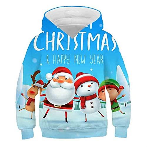 Sudaderas con capucha de árboles de Navidad, Sudaderas con capucha for niños Sudaderas de manga larga 3D Sudadera Tops Tops for niños (Color : Sky blue, Kid Size : 12T)