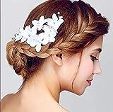 Shuny Mariée Accessoires cheveux,Vintage Argent Mariée Diadème,Mariage Demoiselles d'honneur Flower Girl Bleu cristal strass Peignes Bandeau