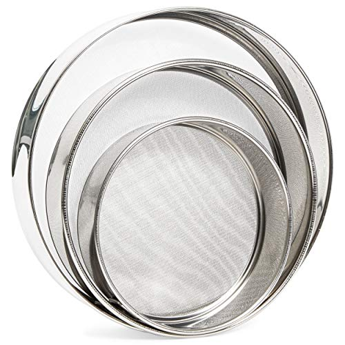 Stainless Steel Professional Round Flour Sieve Set (3 Pack)