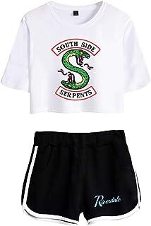 OLIPHEE Camisa de Riverdale Impresa Serpiente con Pantalones