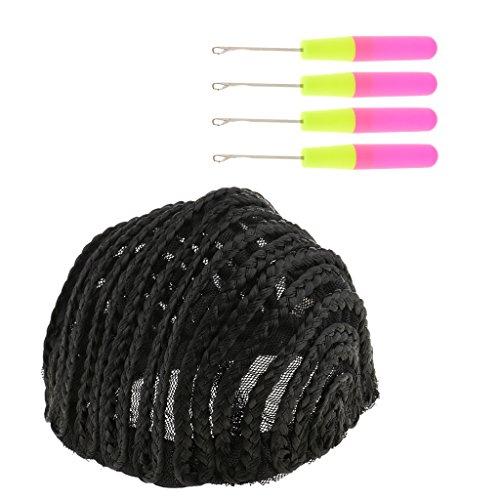 T TOOYFUL Cornrow Wig Cap Black + 4pcs Crochet Aiguille Pour Tissage Crotchet Tresse Cheveux