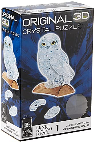 BePuzzled Original 3D Crystal Jigsaw Puzzle - Owl Animal Bird Assembly Brain Teaser, Fun Model Toy Gift Decoration for Adults & Kids Age 12 and Up, Clear, 42 Pieces (Level 1)