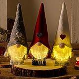 Figurita de Navidad con diseño de gnomo de peluche y resina para un estante de mesa, decoración escandinava, juego de 3 (gris + rojo + blanco 8 pulgadas)