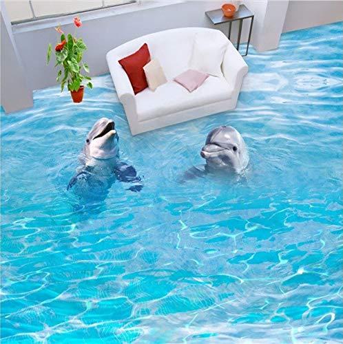 Rureng Pvc-Bodenbelag Benutzerdefinierte Wand Aufkleber Paar Ozean Delphine 3D Badezimmer Fußböden Malerei Foto 3D Wandbilder Tapete-200X140Cm