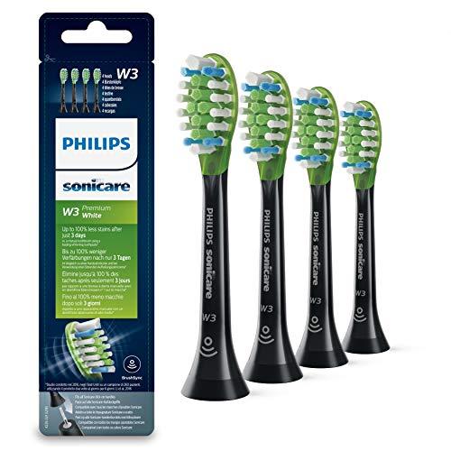 Philips Sonicare Original Aufsteckbürste Premium White HX9064/33, entfernt bis zu 5x mehr Verfärbungen, RFID-Chip, 4er Pack, Standard, Schwarz