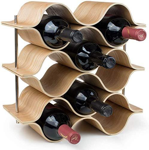 ZTKBG Wave-wijnrek, 8 stuks, van hout, modern minimalistisch design, eenvoudig te monteren, zoete en droge wijn, voor kleine huishoudens