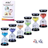 Hourglass Sand Timers 1/3/5/10/15/30 Minutes, Colorful Sand Clock for Kids, Mini Plastic Sand Watch for Games Classroom, Small Glass Sandglass Timer Set (Pack of 6)