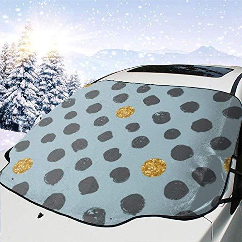 GOSMAO Protector de ParabrisasPunto Gris Dorado Cubierta de Parabrisas Coche Protege de Rayos Antihielo y Nieve, UV, Lluvia, Funda Plegable Delantero 147 * 118cm