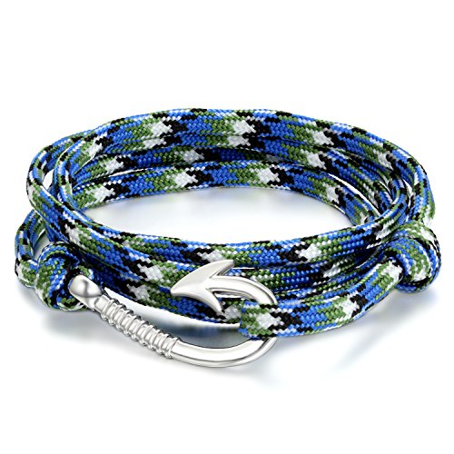 JewelryWe Schmuck Herren Damen Armband Retro Geflochten Angelhaken Haken Armreif Nylonseil Legierung blau Weiss schwarz