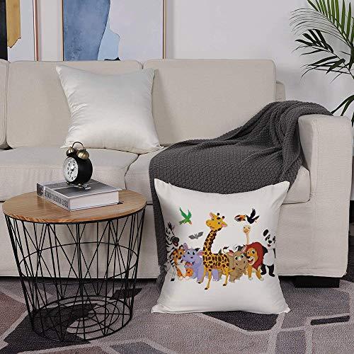 Microfiber cushion cover 50x50 cm,Kids,Colorful Jungle Animals Hippo Bat Parrot Giraffe Zebra Rhino Panda ,Sofa Waist Chair Home Office Bar Car Decor Decorative Throw Pillowcase Protectors With Zipper