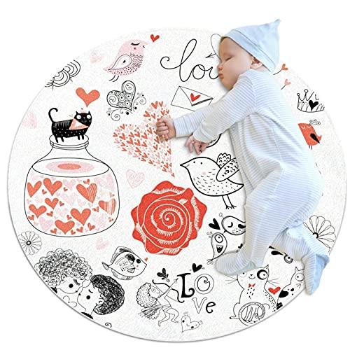 Alfombra redonda, sala de estar, dormitorio, estudio, mesa de café, alfombras de moda, diseño de rosas blancas y rojas