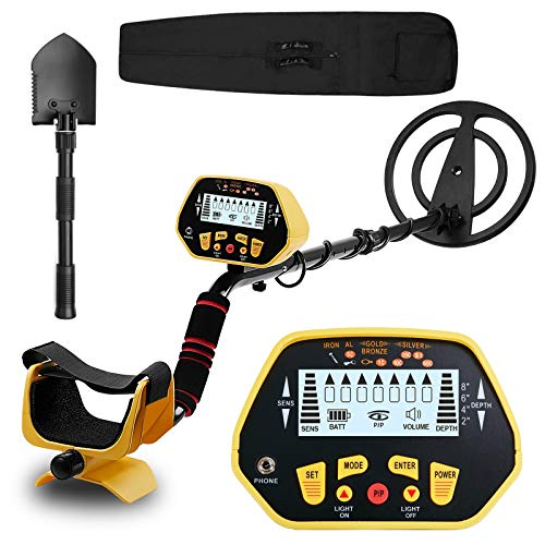 Metal Detector for Adults & Kids, High Accuracy Adjustable Metal Detector with LCD Display, 10 Inch Waterproof Search Coil, Pinpoint & Disc & Distinctive Audio Prompt