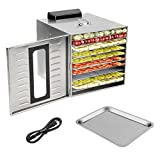 Homgrace Kitchen Commercial Food Dehydrator, Stainless Steel 10 Trays Food Dehydrator Nut Durable...