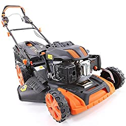 FUXTEC Gasoline Lawn Mower FX-RM2060PRO with 51 cm cutting width and variable GT self-propelled engine voted best tool 2015 in the trade press