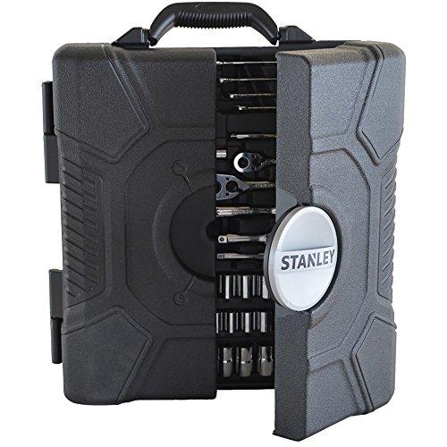 Stanley Stht5-73795 Coffret d'Outils pour mécanique 210 Pièces - Couteau - mètre 5m - Tournevis - Clé À molette - Pinces - Clés Hexagonales - Embouts de Vissage - Finition Chromée