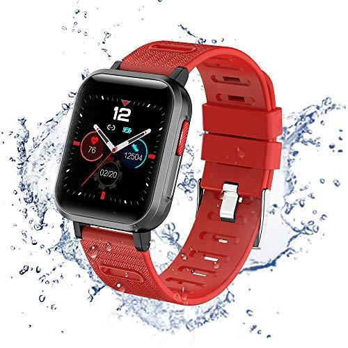 Reloj inteligente para fitness IP68 con podómetro, podómetro, pulsómetro, reloj de sueño, para niños, mujeres, hombres, compatible con Android iPhone, Smartphone (rojo)