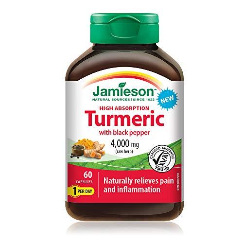 Jamieson High Absorption Curcumin Turmeric with Black Pepper 4,000 mg (raw herb), 60 Capsules