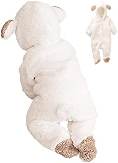 Pijama de cachorro - pijama - mono - bebé - bebé - forro polar - disfraz - mono cálido - carnaval - blanco - con patas - tamaño 80 cm - idea de regalo para cumpleaños