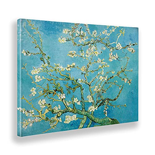 Giallobus - Cuadro - Vincent Van Gogh - Flores de Almendro - Lienzo - 140x100 - Listo para Colgar - Cuadros Modernos para el hogar