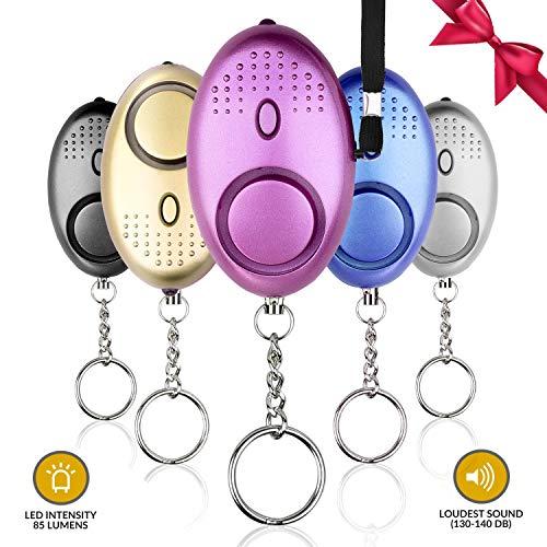 140 dB persönlicher Alarm Schlüsselanhänger, Notfall-Selbstverteidigungs-Sirenalarm, LED-Licht, Einzelpakete für Frauen, Kinder, ältere Menschen, Abenteurer, Nachtarbeiter (Mehrfarbig, 5 Stück)