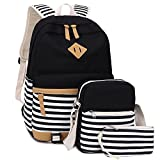 BLUBOON Bookbags Canvas Stripe School Backpack Set for Teens Schoolbags 3 in 1 (Black stripe-3pcs)