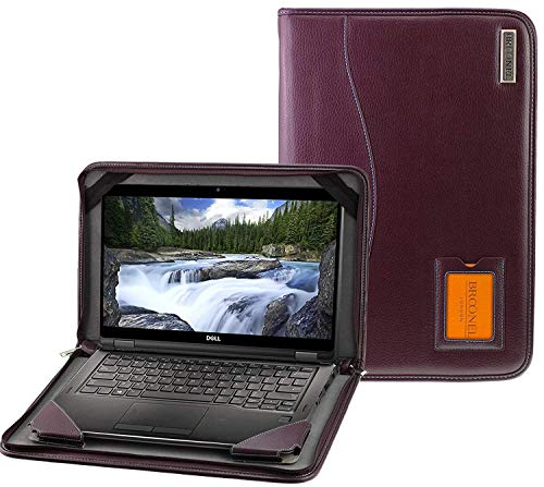 Broonel - Contour Series - Purple Heavy Duty Leather Protective Case Compatible with the Dell Inspiron 15.6 inch HD Touchscreen Laptop