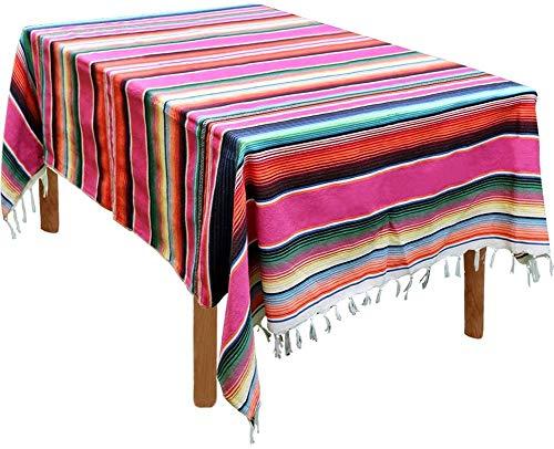 zachking Camino de mesa mexicano Serape 35,5 x 200,4 cm para fiestas mexicanas decoración de bodas, picnic al aire libre, mesa de comedor, caminos de mesa tejida a mano de algodón con flecos
