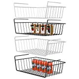 Under Shelf Basket, GSlife 4 Packs Under Shelf Storage Wire Basket Stable Hanging Basket,Black & White