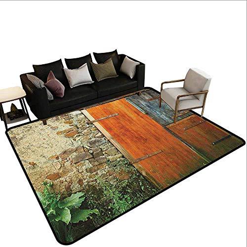MsShe Superior hal tapijt Rolluiken, Mand van Bloemen Historische Bouwraam met Klassieke Kant Gordijn Binnen Afbeelding, Beige Groen