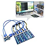 Mining Mainboard, Starall PCI-E 1X bis 4 PCIE 16X Slots Riser Externer Adapter PCI-E Port-Karte Kabel-Board-Set Mining Cable Adapter