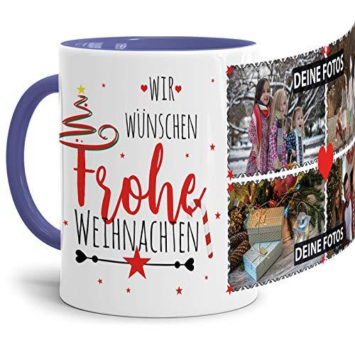Tassendruck Weihnachts-Tasse mit Spruch zum SELBSTGESTALTEN mit Foto-Collage für 4 WUNSCHFOTOS - Persönliches Geschenk für Freunde und Familie - Innen & Henkel Cambridge Blau