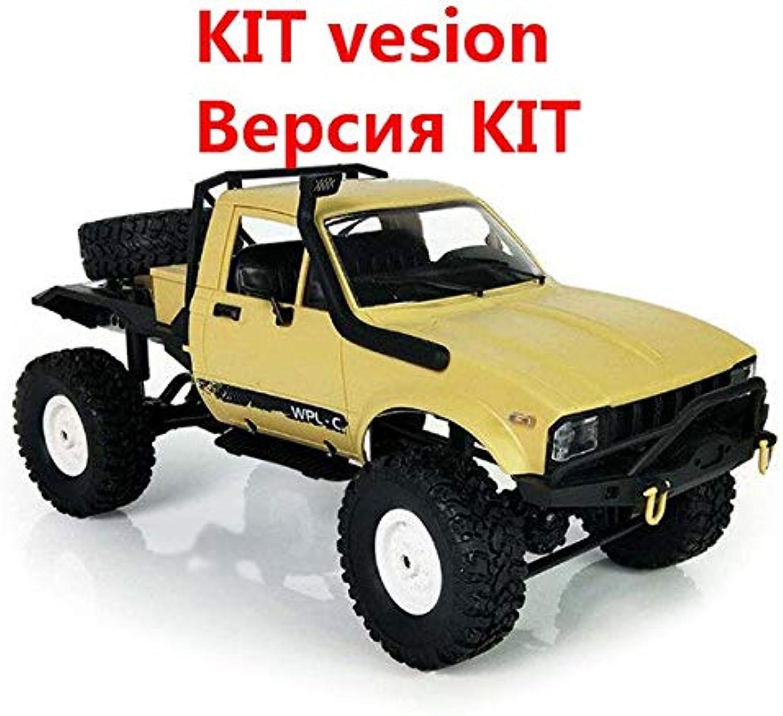 Generic 2019 WPL C14 1 16 RC Truck 1 16 Hynix 2.4G Mini OffRoad Remote Control Car 15km H Top Speed Mini RC Monster Truck 4WD RTR KIT Yellow KIT