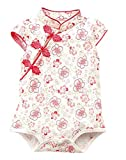 Baby Girls Newborn Infant Cheongsam Chinese New Years Outfit Romper Top Clothes Qipao Bodysuit (0 to 6 Months, Red Style #2)