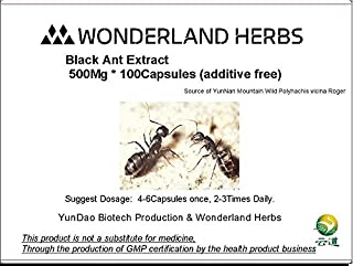 Wonderland Herbs UNADULTERATED RAW Wild Mountain Ant/Polyrhachis Vicina Extract 100 Capsules x 400Mg, Formic Acid≥1.5% - zinc Supplement, Natural Energy