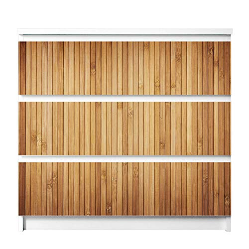 banjado Möbelfolie passend für IKEA Malm Kommode 3 Schubladen | Möbel-Sticker selbstklebend | Aufkleber Tattoo perfekt für Wohnzimmer und Kinderzimmer | Klebefolie Motiv Bambusholz