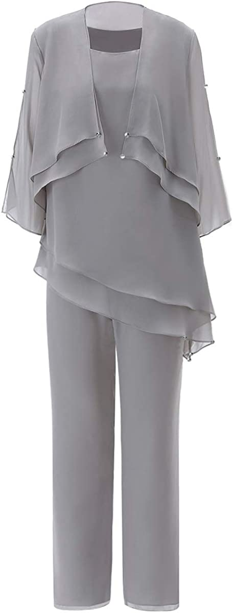Zeattall Women's Jumpsuits Mother of The Bride Dress Pant Suits Elegant Chiffon 3 Piece Wedding Outfits with Jacket