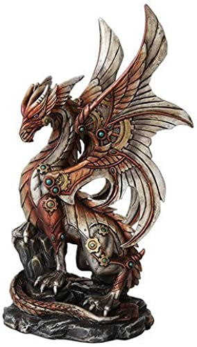 10 Inch Steampunk Inspirot Mechanical Dragon Statue Figurine by PTC