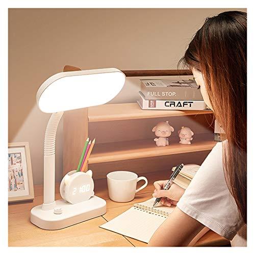Lámpara de mesa Lámpara de escritorio for niños LED Lámpara de escritorio con reloj, luz nocturna, soporte de lápiz Lámpara de lectura de lámpara de mesa for niños for niños Aprendizaje Lampara de lec