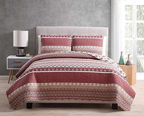 Morgan Home Printed 3 Piece Reversible Quilt Set with Shams – All Season Comfort, Available in, Colors & Sizes (Burgundy, King)