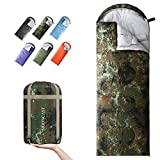 MOONCAST Backpacking Sleeping Bag - Warm & Cold Weather, Use for 4 Seasons - Lightweight, Portable, Waterproof - Use for Kids, Teens & Adults for Hiking and Camping (Army Green Camouflage/Left Zip)