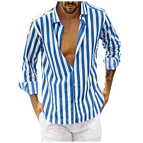 Kobilee Camisa a rayas de manga larga para hombre, corte regular, verano, otoño, para el tiempo libre., azul, XXXL