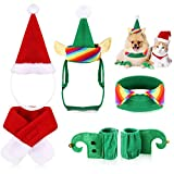 6 Pieces Cat Halloween Clothes Christmas Cat Costume Dog Xmas Clothes Set Dog Cat Santa Hat with Scarf Christmas Costume Green Elf Outfit for Puppy Kitten Small Cats Dogs Pets