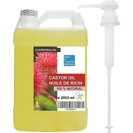 Aceite de Ricino Prensado en Frío 100% Natural Hidratante Endurecedor Uñas, Crecimiento Cabello, Barba, Pestañas, Cejas, Anti Caída Pelo (2000 ml) - ...