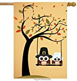 ShineSnow Lovely Cute Owl Tree House Flag 28' x 40' Double Sided, Polyester Yellow Funny Thanksgiving Welcome Yard Garden Flag Banners for Patio Lawn Home Outdoor Decor