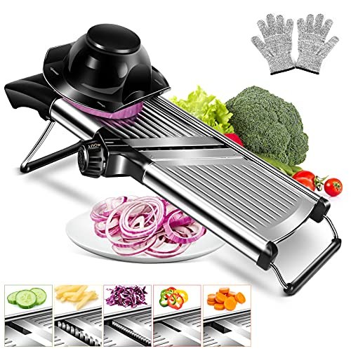 of slicer set with adjustable mandolines MASTERTOP Adjustable Mandoline Food Slicer Vegetable Slicer Fruit Cutter Stainless Steel Kitchen Julienne Slicer For Kitchen Waffle Fry Cut Potato Chip Vegetable Onion Cheese French Fry