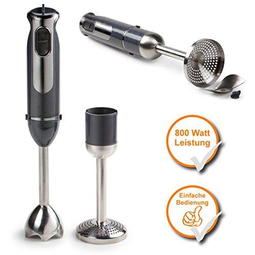 Stabmixer + Kartoffelstampfer, Turbo-Mixer-Set mit starken 800Watt, Soft-Touch...