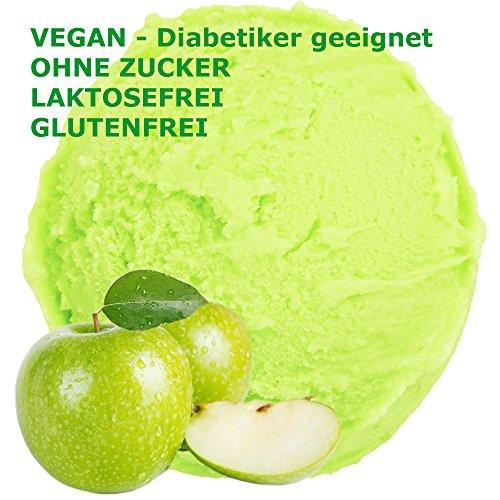 Saurer Apfel Geschmack Eispulver VEGAN - OHNE ZUCKER - LAKTOSEFREI - GLUTENFREI - FETTARM, auch für Diabetiker Milcheis Softeispulver Speiseeispulver Gino Gelati (Saurer Apfel, 1 kg)