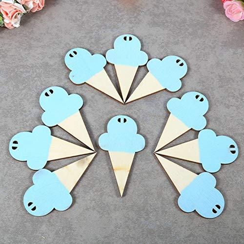 Omabeta Tarjeta de madera para colocar 10 tarjetas de fotos de madera con forma de helado, tarjetas de madera con cadena para colgar decoraciones de pared para niños para guardería, dormitorio (azul)