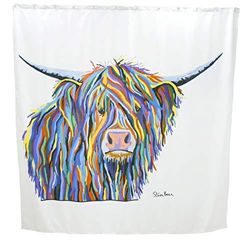 Croydex Duschvorhang mit Angus-McCoo-Kunst, Polyester metall, weiß, 1800mm x 1800mm